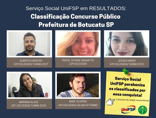Serviço Social UniFSP representado na lista dos classificados ✔️